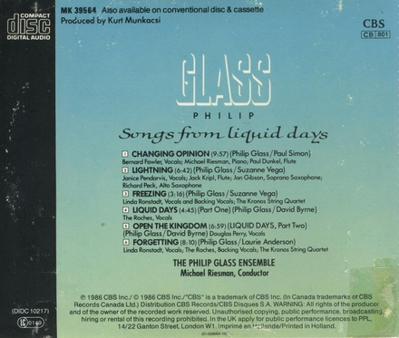 Songs from liquid days