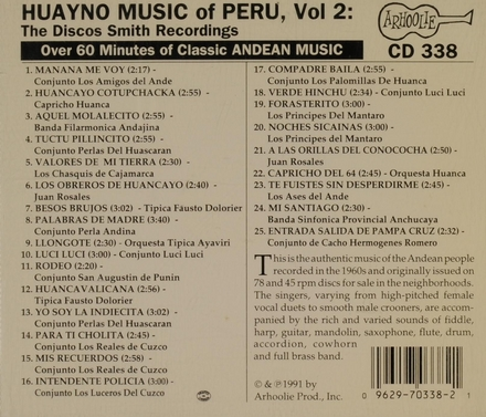 Huayno music of Peru. Vol. 2, The Discos Smith recordings 1960-1975