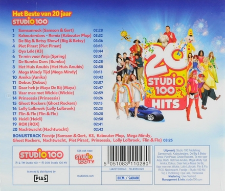 20 Studio 100 hits : het beste van 20 jaar Studio 100