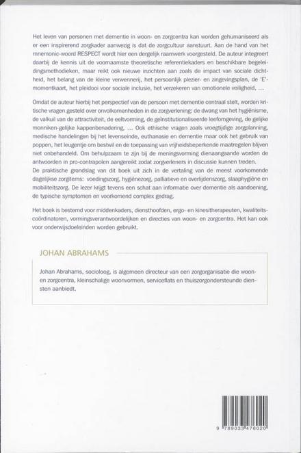 Respectvol omgaan met personen met dementie : een praktijkgids voor de zorgsector