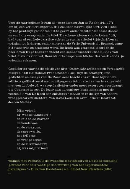 Ik ben de overlevende : een keuze uit het werk van Jan de Roek : gedichten, essays, foto's en geluidsfragmenten