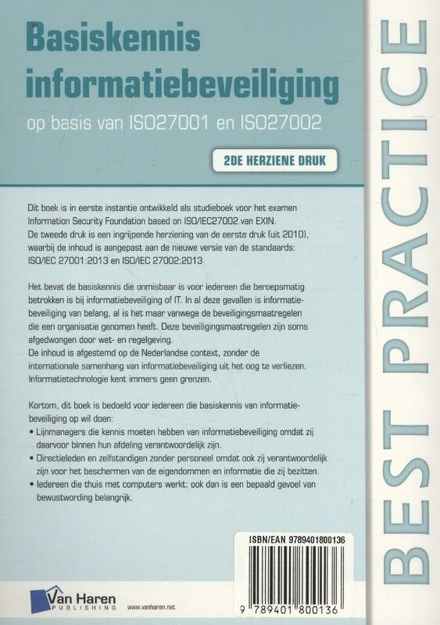 Basiskennis informatiebeveiliging : op basis van ISO27001 en ISO27002