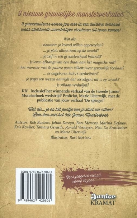Junior monsterboek. 5, Negen duivelse griezelverhalen geschreven bij volle maan...